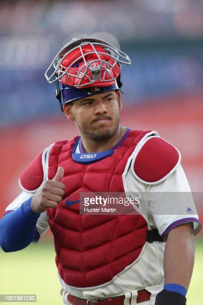 Jorge Alfaro of the Philadelphia Phillies warmsup before a game against the Colorado Rockies at Citizens Bank Park on June 12 2018 in Philadelphia...