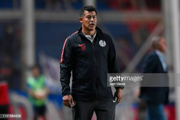 Jorge Almiron Coach of San Lorenzo looks on during a group F match between San Lorenzo and Melgar as part of Copa CONMEBOL Libertadores 2019 at Pedro...