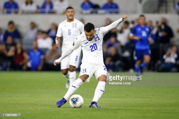 Jorge Alvarez of Honduras takes a shot on goal during the second half of Honduras v El Salvador Group C 2019 CONCACAF Gold Cup at Banc of California...