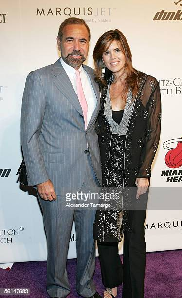 Jorge and Darlene Perez pose at the Night of Moroccan Heat Party at Shaquille and Shaunie O'Neal's private home on Star Island November 11 2005 in...