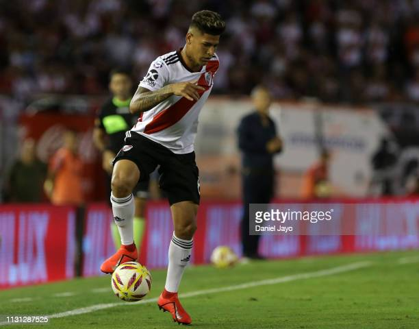 Jorge Andres Carrascal of River Plate controls the ball during a match between River Plate and Independiente as part of Superliga 2108/19 at Estadio...
