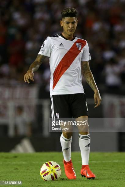 Jorge Andres Carrascal of River Plate plays the ball during a match between River Plate and Independiente as part of Superliga 2108/19 at Estadio...