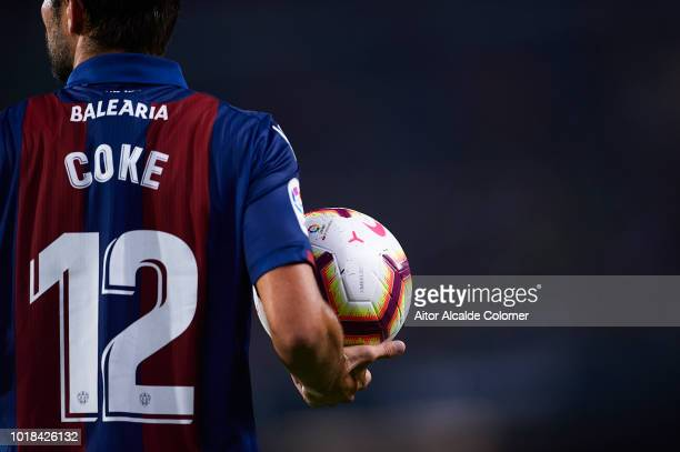 Jorge Andujar Koke of Levante UD holds the ball during the La Liga match between Real Betis Balompie and Levante UD at Estadio Benito Villamarin on...