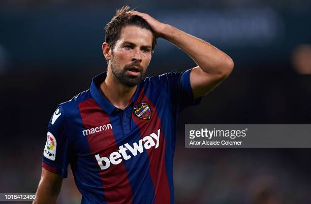 Jorge Andujar Kokeof Levante UD reacts during the La Liga match between Real Betis Balompie and Levante UD at Estadio Benito Villamarin on August 17...