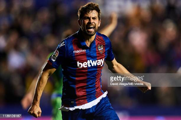 Jorge Andujar Moreno Coke of Levante UD celebrates his sides fourth goal during the La Liga match between Levante UD and Real Betis Balompie at...
