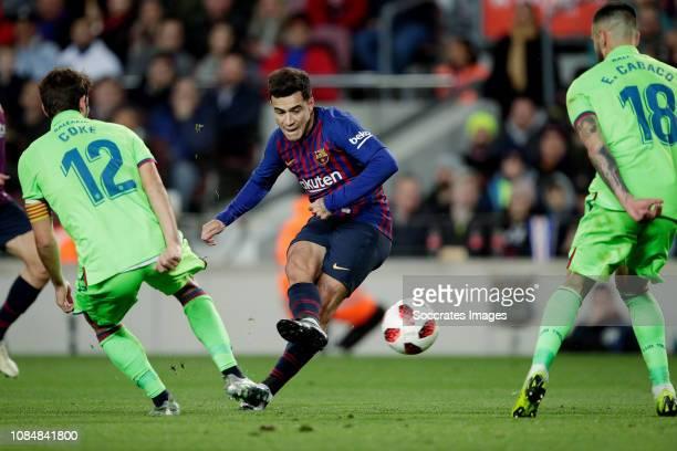Jorge Andujar Moreno Coke of Levante UD Philippe Coutinho of FC Barcelona Erick Cabaco of Levante UD during the La Liga Santander match between FC...