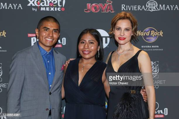Jorge Antonio Guerrero Martinez Yalitza Aparicio and Marina de Tavira attend the red carpet of the Premios Platino 2019 at Occidental Xcaret Hotel on...