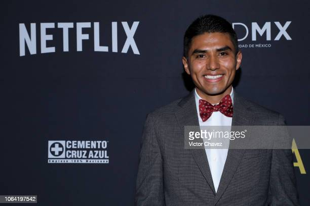 Jorge Antonio Guerrero poses during the red carpet and screening of Alfonso Cuarón and Netflix film 'Roma' at Cineteca National on November 21 2018...