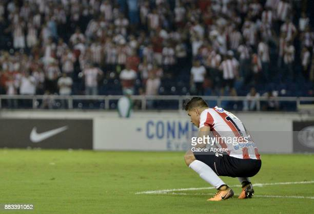 Jorge Arias of Junior looks dejected after a second leg match between Junior and Flamengo as part of the Copa CONMEBOL Sudamericana 2017 Semifinals...