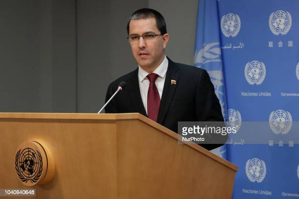 Jorge Arreaza Minister for Foreign Affairs of the Bolivarian Republic of Venezuela briefs press during the General Assembly's seventythird general...