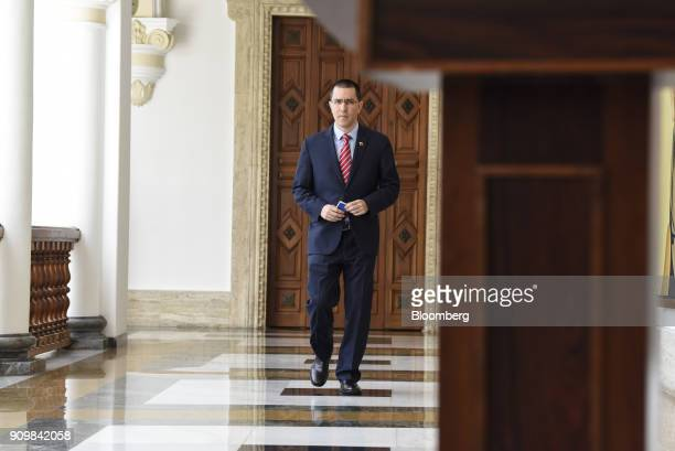 Jorge Arreaza Venezuela's foreign affairs minister arrives for a news conference following a meeting with European Union ambassadors in Caracas...