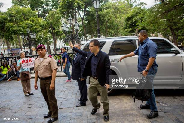 Jorge Arreaza Venezuela's foreign affairs minister center arrives at the chancellery in Caracas Venezuela on Friday June 1 2018 Venezuelan...