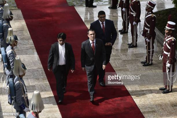 Jorge Arreaza Venezuela's foreign affairs minister center arrives to the National Assembly building in Caracas Venezuela on Thursday Aug 10 2017...