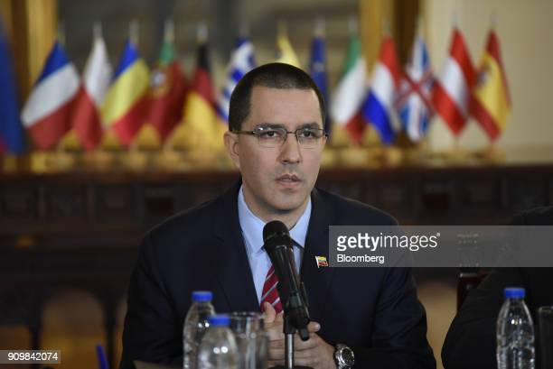 Jorge Arreaza Venezuela's foreign affairs minister speaks during a meeting with European Union ambassadors in Caracas Venezuela on Tuesday Jan 24...
