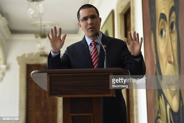 Jorge Arreaza Venezuela's foreign affairs minister speaks during a news conference following a meeting with European Union ambassadors in Caracas...