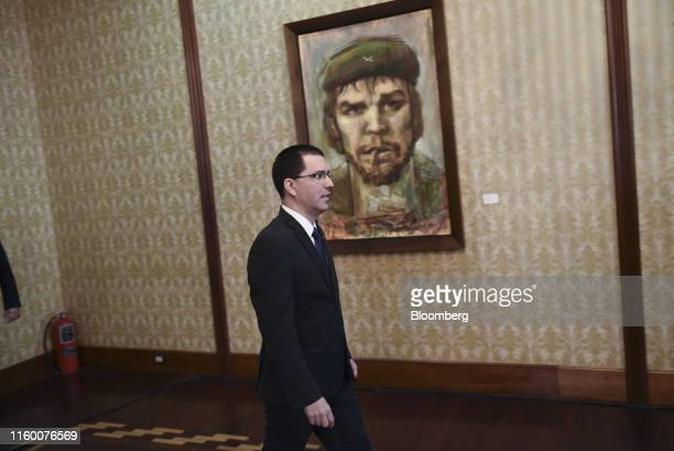 Jorge Arreaza Venezuela's foreign minister arrives to speak at a news conference in Caracas Venezuela on Tuesday Aug 6 2019 President Donald Trump...