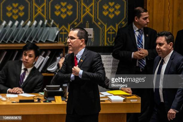 Jorge Arreaza Venezuela's foreign minister center arrives for a United Nations Security Council meeting in New York US on Saturday Jan 26 2019...