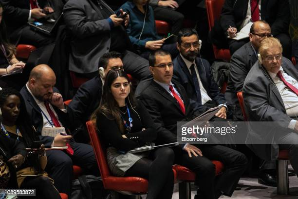 Jorge Arreaza Venezuela's foreign minister center attends a United Nations Security Council meeting in New York US on Saturday Jan 26 2019 Secretary...