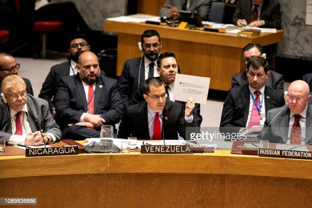Jorge Arreaza Venezuela's foreign minister center speaks during a United Nations Security Council meeting in New York US on Saturday Jan 26 2019...