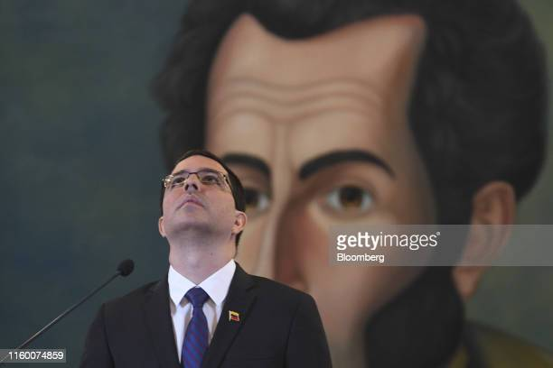 Jorge Arreaza Venezuela's foreign minister pauses while speaking during a news conference in Caracas Venezuela on Tuesday Aug 6 2019 President Donald...