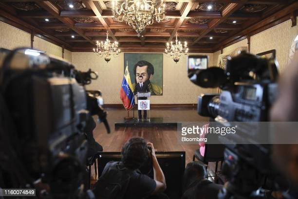 Jorge Arreaza Venezuela's foreign minister speaks during a news conference in Caracas Venezuela on Tuesday Aug 6 2019 President Donald Trump imposed...