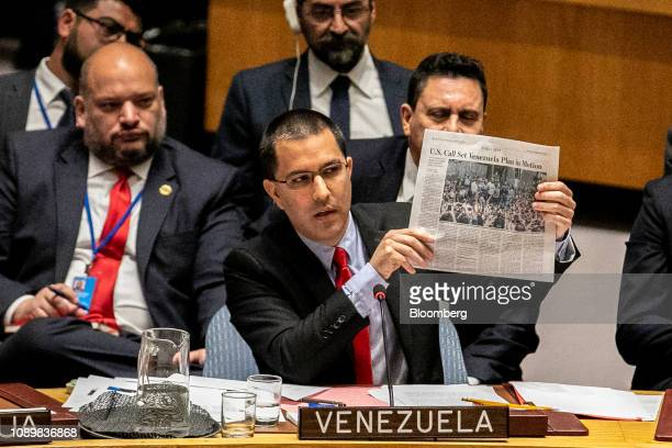 Jorge Arreaza Venezuela's foreign minister speaks during a United Nations Security Council meeting in New York US on Saturday Jan 26 2019 Secretary...