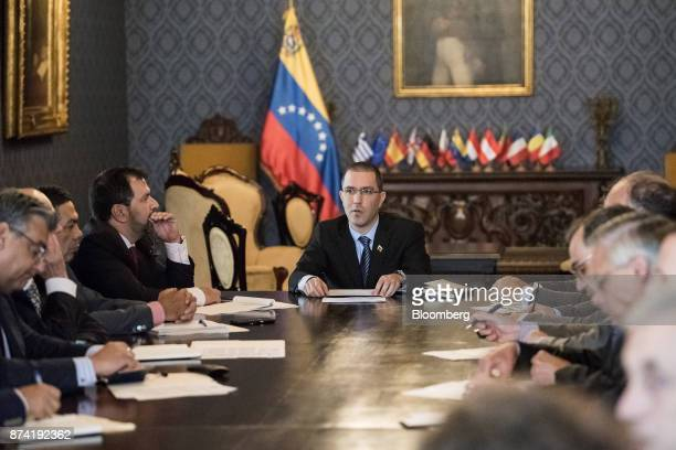 Jorge Arreaza Venezuela's minister of foreign affairs center meets the European Union diplomatic corps at the Yellow House in Caracas Venezuela on...