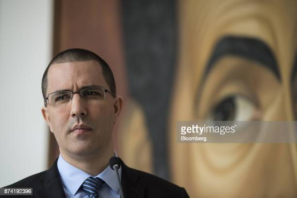 Jorge Arreaza Venezuela's minister of foreign affairs pauses during a press conference after a meeting with the European Union diplomatic corps at...