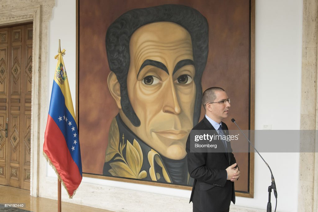 Jorge Arreaza, Venezuela's minister of foreign affairs, pauses while speaking during a press conference after a meeting with the European Union (EU) diplomatic corps at the Yellow House (Casa Amarilla) in Caracas, Venezuela, on Tuesday, Nov. 14, 2017. On November 13, EU nations decided to adopt targeted sanctions against Venezuela, including an 'embargo on arms and on related material that might be used for internal repression.' Photographer: Carlos Becerra/Bloomberg via Getty Images