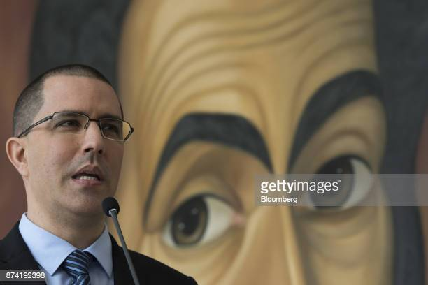 Jorge Arreaza Venezuela's minister of foreign affairs speaks during a press conference after a meeting with the European Union diplomatic corps at...
