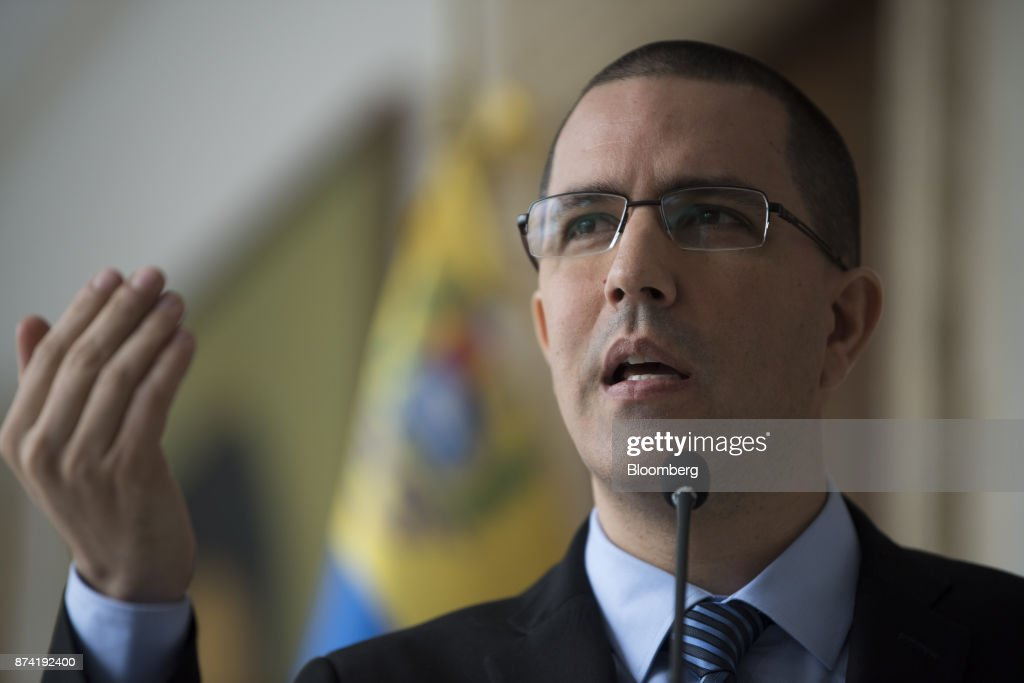 Jorge Arreaza, Venezuela's minister of foreign affairs, speaks during a press conference after a meeting with the European Union (EU) diplomatic corps at the Yellow House (Casa Amarilla) in Caracas, Venezuela, on Tuesday, Nov. 14, 2017. On November 13, EU nations decided to adopt targeted sanctions against Venezuela, including an 'embargo on arms and on related material that might be used for internal repression.' Photographer: Carlos Becerra/Bloomberg via Getty Images