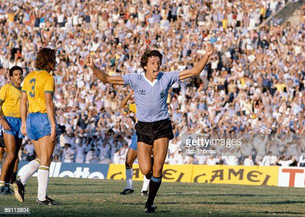 Jorge Barrios celebrates after scoring for Uruguay against Brazil in the Final of the Copa De Oro at the Estadio Centenario in Montevideo 10th...