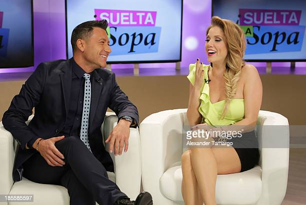 Jorge Bernal and Hannaley are seen on the set of the new Telemundo show 'Suelta La Sopa' on October 22 2013 in Miami Florida