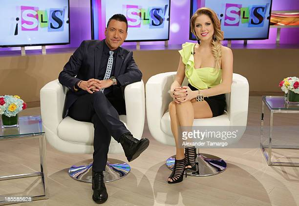 Jorge Bernal and Hannaley are seen on the set of the new Telemundo show Suelta La Sopa on October 22 2013 in Miami Florida