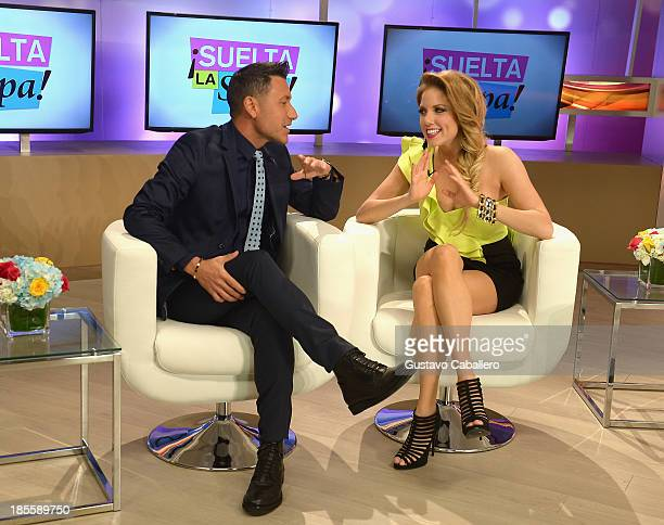 Jorge Bernal and Hannaley attend the launch of the new Telemundo show 'Suelta La Sopa'on October 22 2013 in Miami Florida