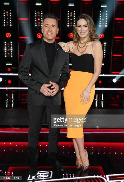 Jorge Bernal and Jacky Bracamontes are seen on stage during Telemundo's La Voz Batallas Round 1 at Cisneros Studios on March 8 2020 in Miami Florida