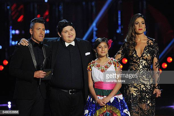 Jorge Bernal Christopher Rivera Magallie Montiel and Patricia Manterola smile during Telemundo La Voz Kids Finale at Universal Orlando on July 9 2016...