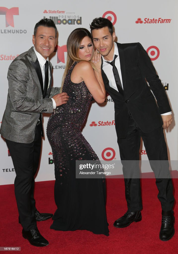 Jorge Bernal, Daisy Fuentes and Prince Royce pose backstage at Billboard Latin Music Awards 2013 at Bank United Center on April 25, 2013 in Miami, Florida.