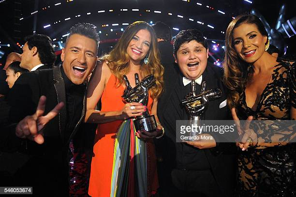 Jorge Bernal La Voz Kids winners Christopher Rivera and singer Natalia Jimenez and Patricia Manterola smile during Telemundo La Voz Kids Finale at...