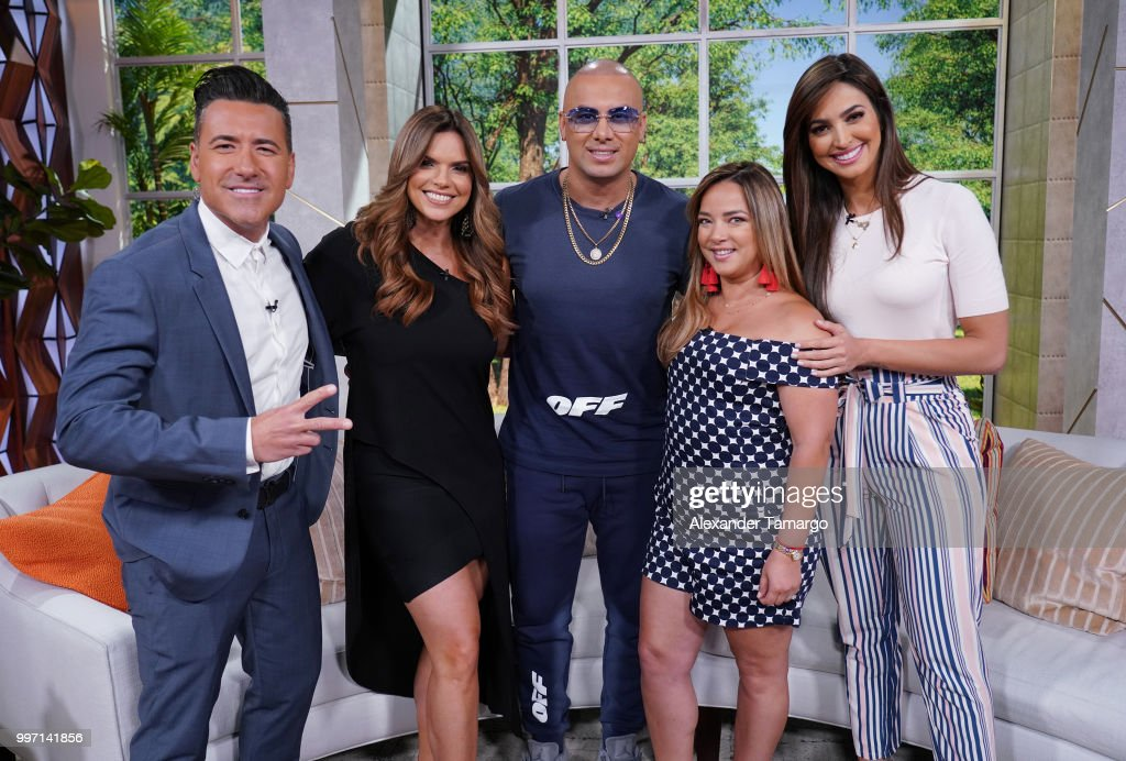 Jorge Bernal, Rashel Diaz, Wisin, Adamari Lopez and Erika Csizer are seen on the set of 'Un Nuevo Dia' at Telemundo Center to promote the show 'La Voz' on July 12, 2018 in Miami, Florida.