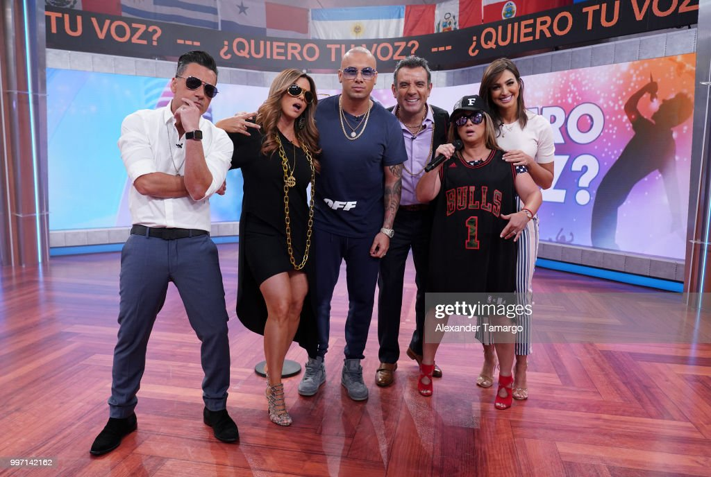 Jorge Bernal, Rashel Diaz, Wisin, Hector Sandarti, Adamari Lopez and Erika Csizer are seen on the set of 'Un Nuevo Dia' at Telemundo Center to promote the show 'La Voz' on July 12, 2018 in Miami, Florida.