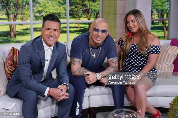 Jorge Bernal Wisin and Adamari Lopez are seen on the set of 'Un Nuevo Dia' at Telemundo Center to promote the show 'La Voz' on July 12 2018 in Miami...