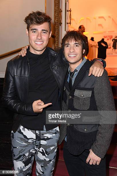 Jorge Blanco and Adrian Salzedo actors of Disney Channel TV series Violetta attend the 'Sister Act The Musical' premiere Party at Stage Theater on...