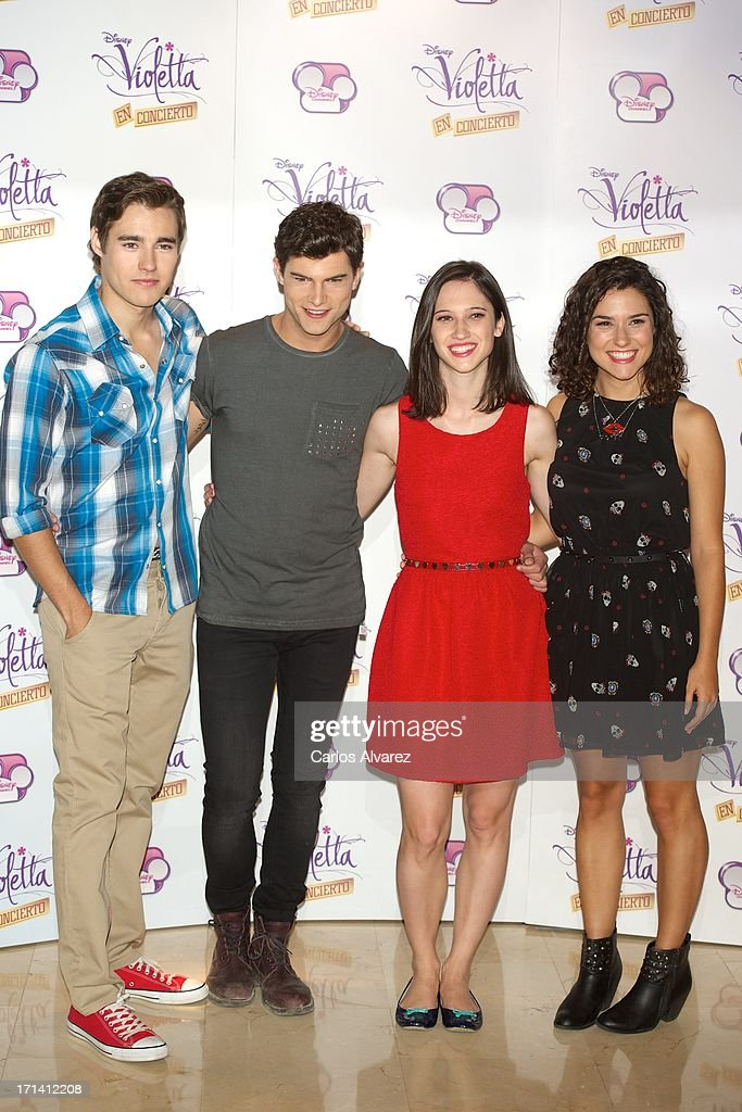 Jorge Blanco, Diego Dominguez, Ludovica Comello and Alba Rico attend the 'Violetta' photocall at the Emperador Hotel on June 24, 2013 in Madrid, Spain.