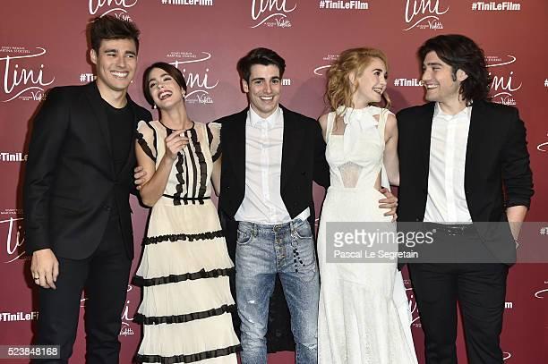 Jorge Blanco Martina Stoessel Pasquale Di Nuzzo Mercedes Lambre and Adrian Salzedo attend the 'Tini La Nouvelle Vie De Violetta' Premiere at UGC Cine...