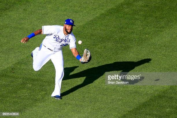 Jorge Bonifacio of the Kansas City Royals catches the ball for an out against Oscar Hernandez of the Boston Red Sox during the first inning at...