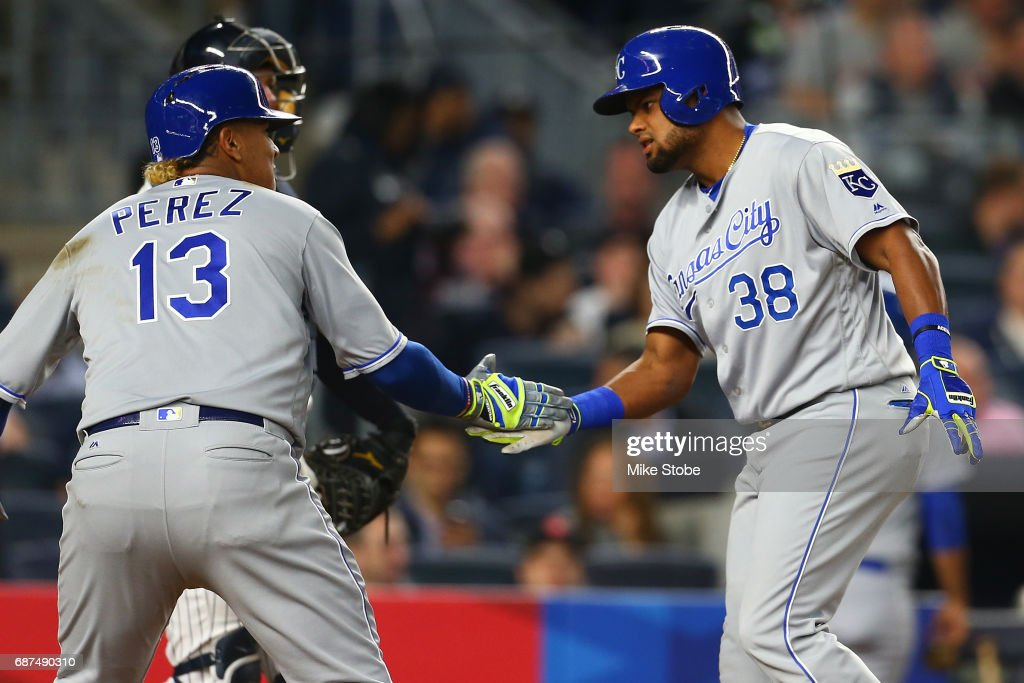 Jorge Bonifacio #38 of the Kansas City Royals celebrates his go ahead solo home run in the seventh inning with Salvador Perez #13 against the New York Yankees at Yankee Stadium on May 23, 2017 in the Bronx borough of New York City.