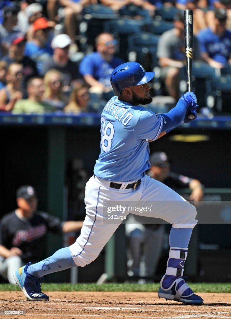 Jorge Bonifacio #38 of the Kansas City Royals hits a double in the second inning against the Cleveland Indians at Kauffman Stadium on August 20, 2017 in Kansas City, Missouri.