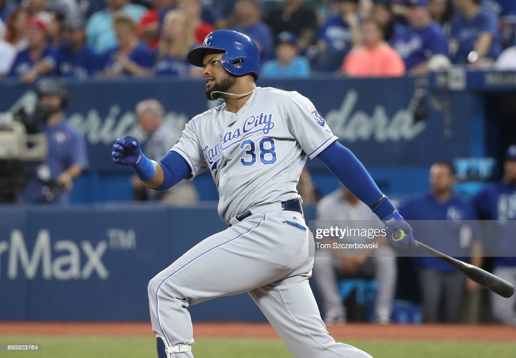 Jorge Bonifacio #38 of the Kansas City Royals hits a double in the second inning during MLB game action against the Toronto Blue Jays at Rogers Centre on September 20, 2017 in Toronto, Canada.