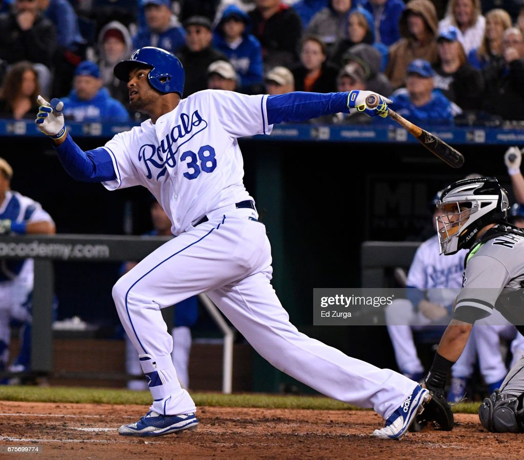 Jorge Bonifacio #38 of the Kansas City Royals hits a two-run home run in the fourth inning against the Chicago White Sox at Kauffman Stadium on May 1, 2017 in Kansas City, Missouri.